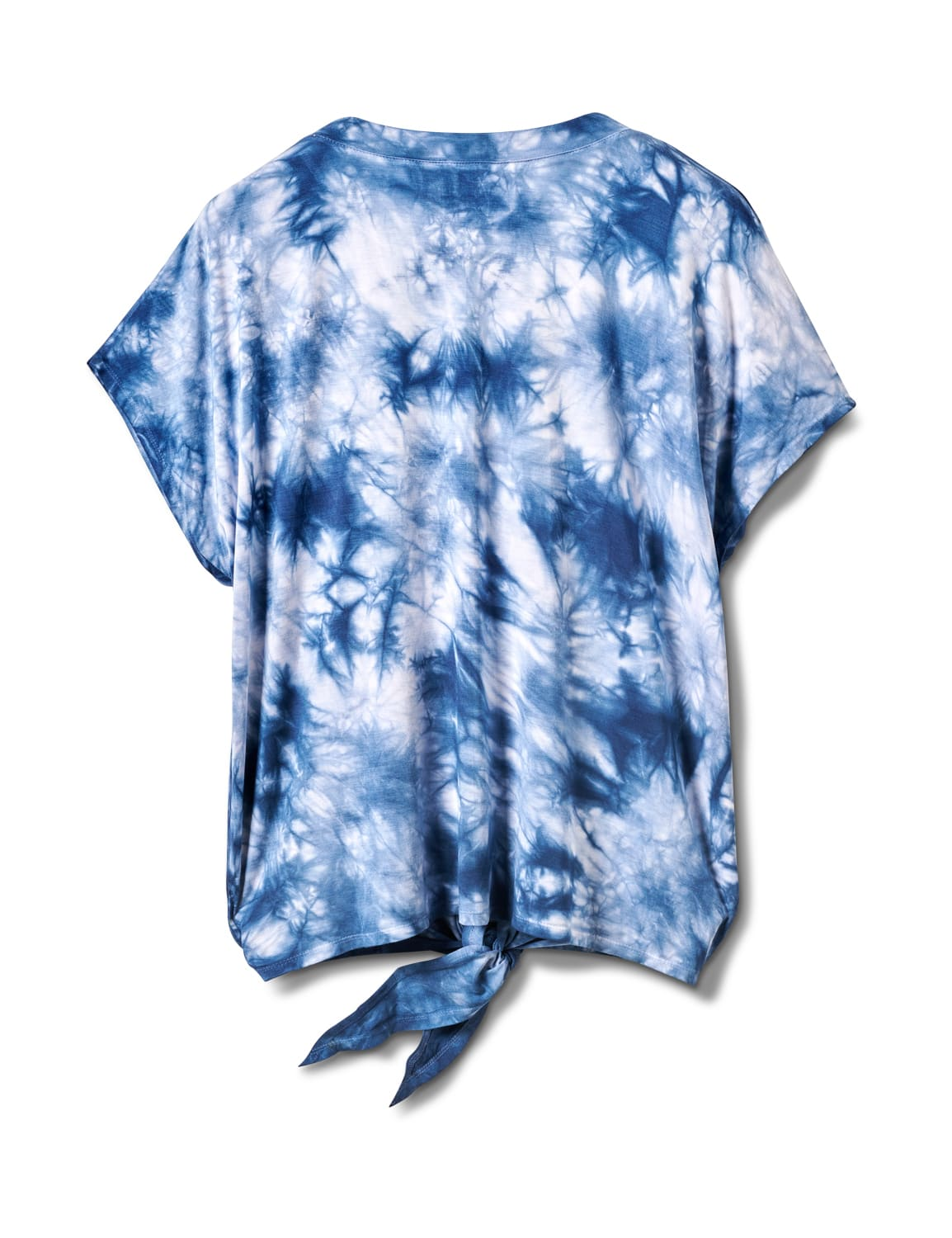 """Dream"" Tie Dye Tie Front Top - Plus - Blue - Front"
