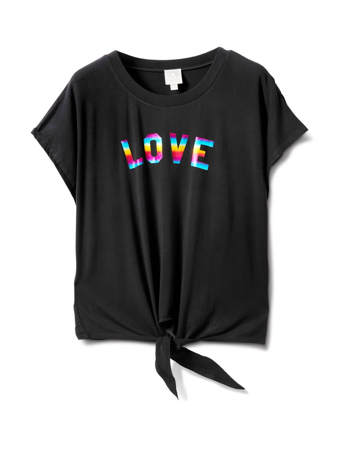"""Ombree """"Love """"Tie Front Knit Top - Plus - Black - Front"""