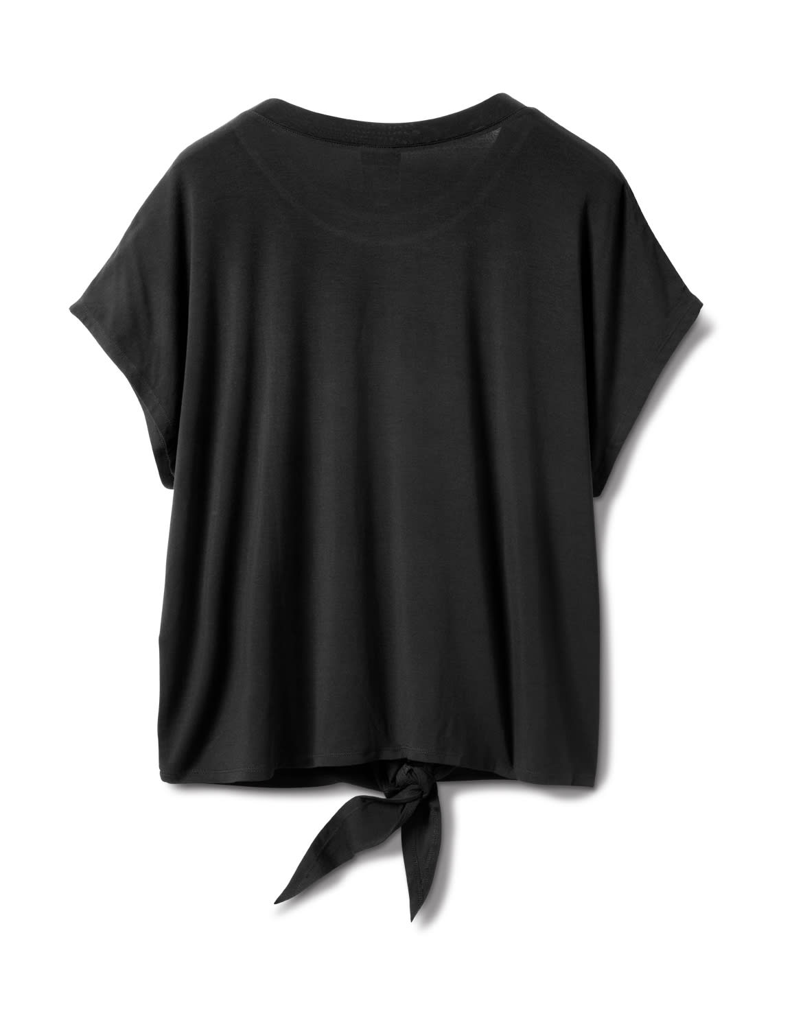 "Ombree ""Love ""Tie Front Knit Top - Plus - Black - Back"