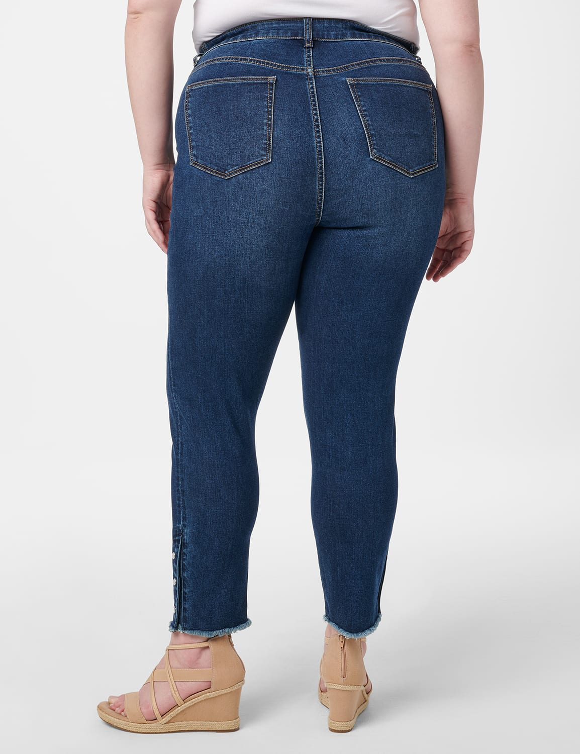 Westport Signature 5 Pocket Skinny Ankle Jean With Snap Button At Ankle - Plus - Dark Wash - Back