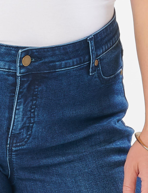 Westport Signature  5 Pocket Girlfriend Jean With Selvedge  Cuff - Plus - Dark Wash - Detail