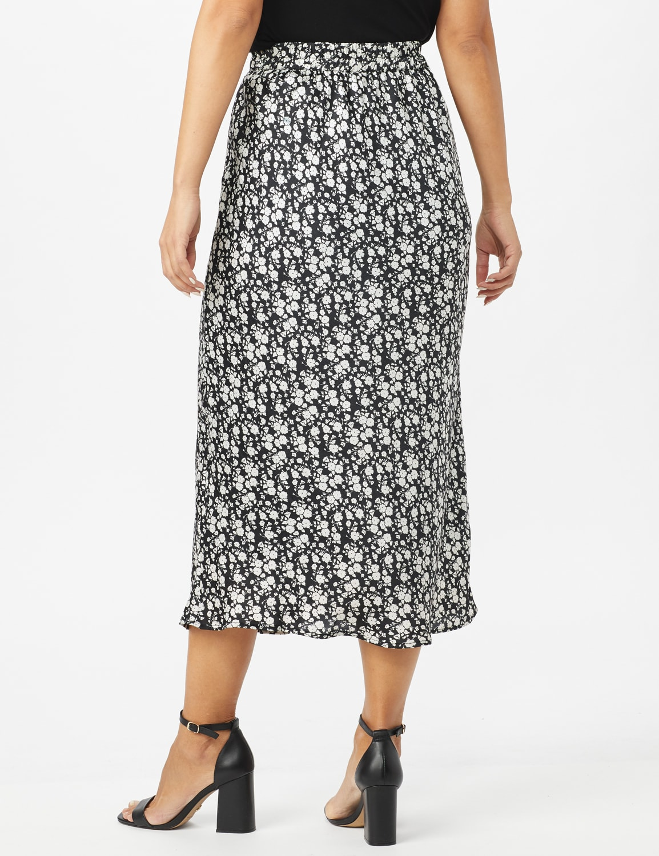 Floral Printed Slip Skirt - Black /White - Back
