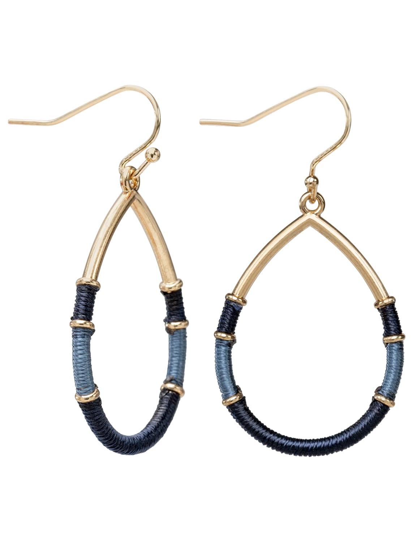 Thread Wrap Teardrop Earring - Gold Plating - Back