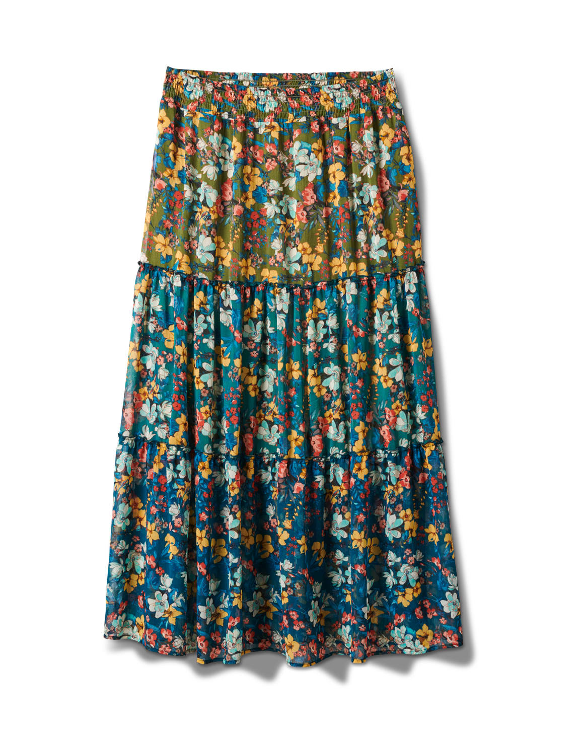 Plus 3 Tiered Maxi Skirt - Moroccan Blue - Front