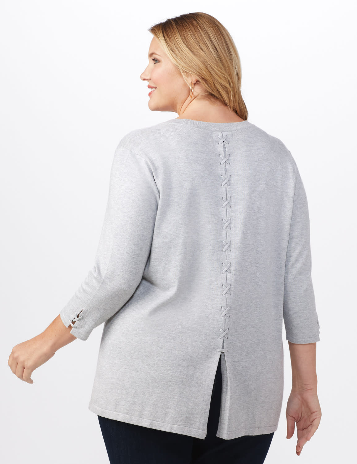 Roz & Ali Lace-Up Back Cardigan - Plus - Light Heather Grey - Back