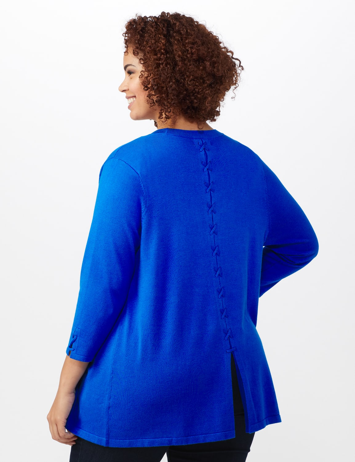 Roz & Ali Lace-Up Back Cardigan - Plus - Masquerade Blue - Back