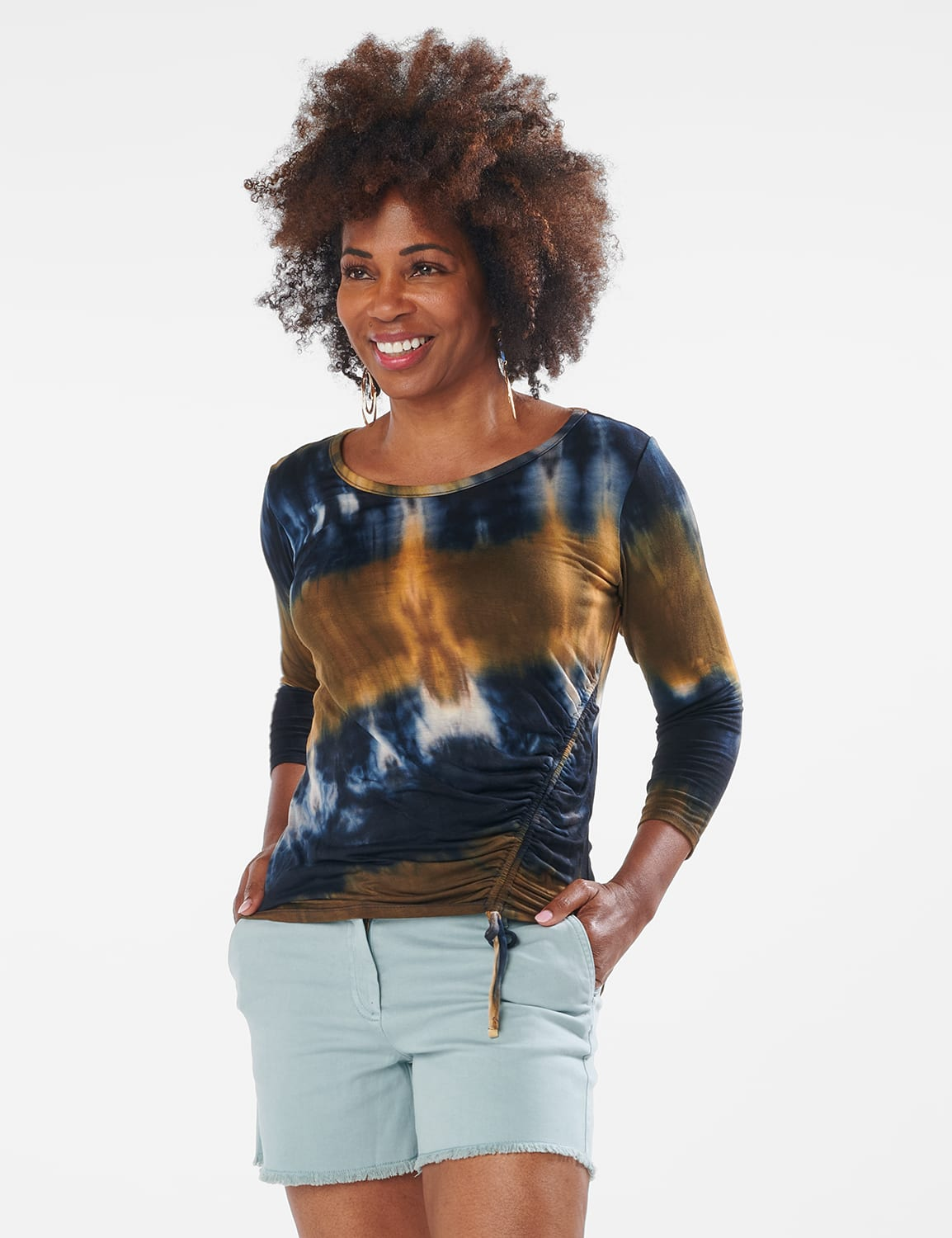 Tie Dye Side Cinched Knit Top - Misses - Olive - Front