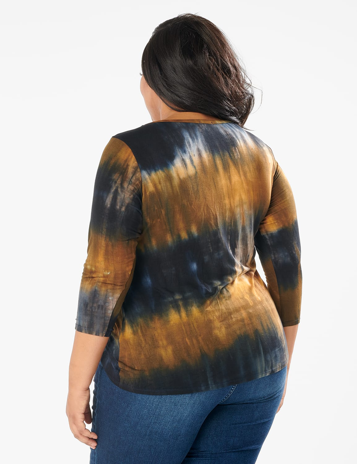 Tie Dye Side Cinched Knit Top - Plus - Olive - Back