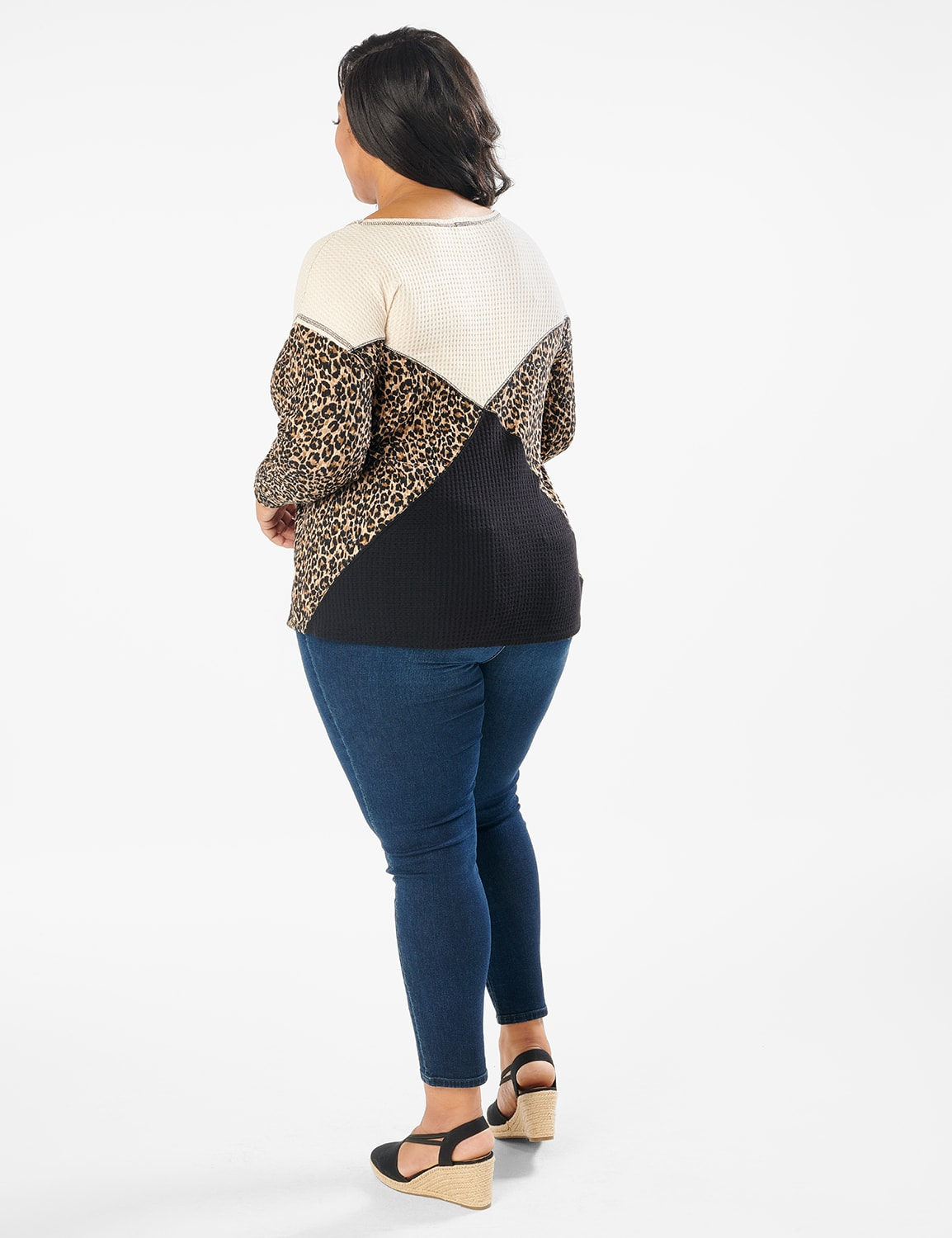 Mixed Animal Thermal Print Knit Top - Plus - Oatmeal - Back