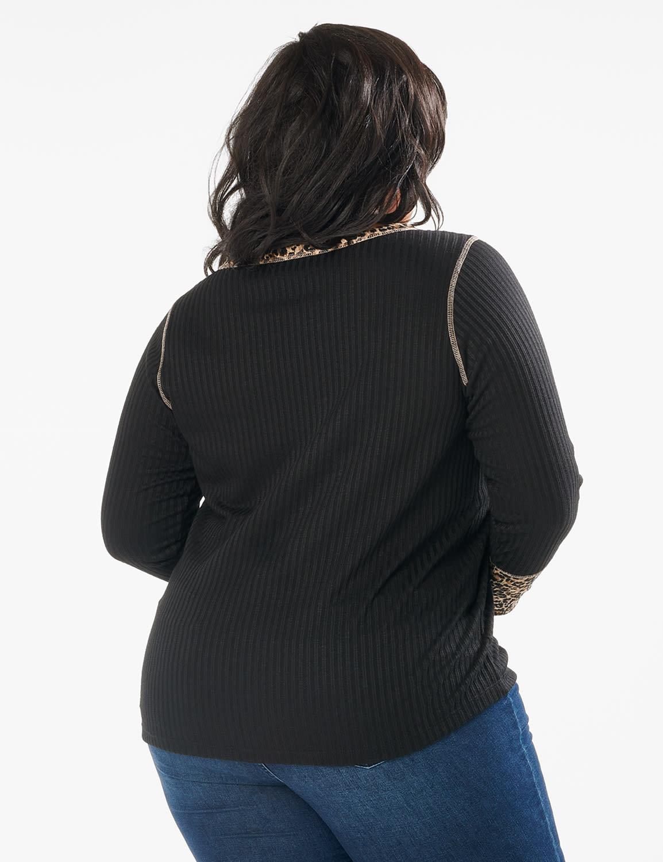 Animal Trim Curved Hem Knit Pullover Top - Plus - Black - Back