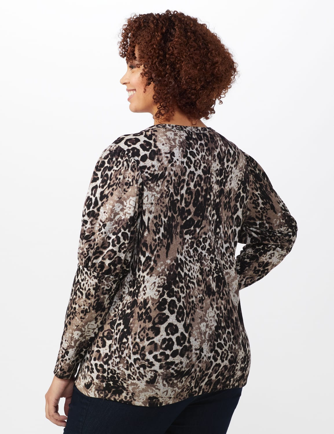 Hacci Puff Shoulder Animal Top - Plus - Taupe - Back