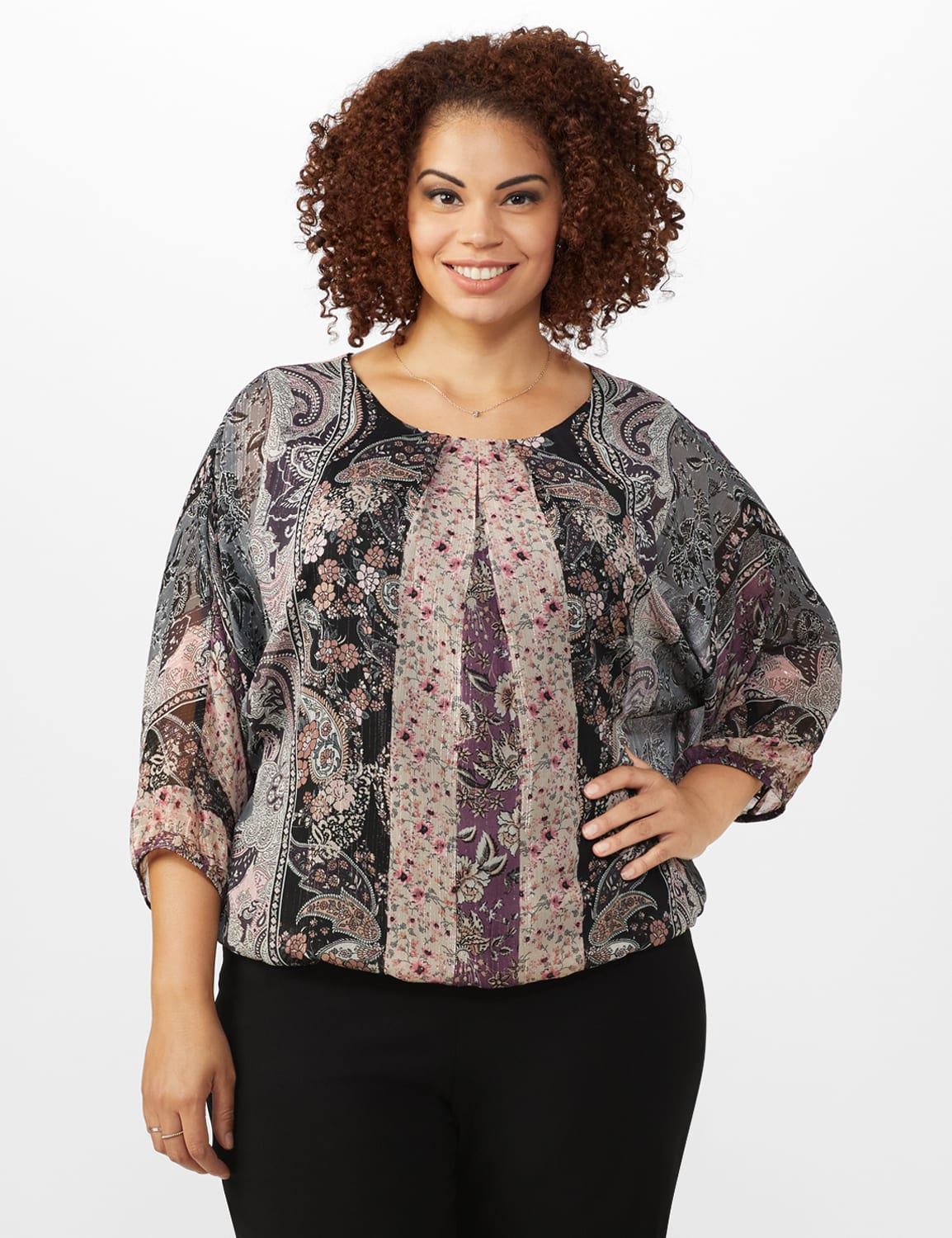 Roz & Ali Floral Bubble Hem Lurex Blouse - Plus - Plum - Front