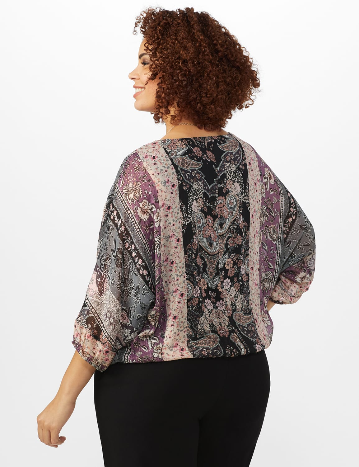 Roz & Ali Floral Bubble Hem Lurex Blouse - Plus - Plum - Back