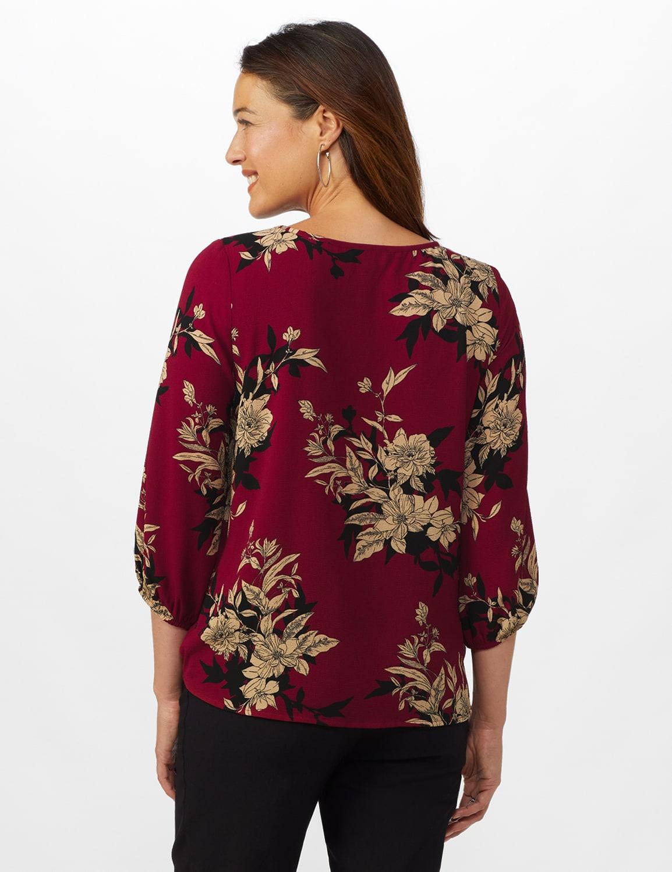 Roz & Ali Floral Crepe Texture Knot Blouse - Misses - Burgundy - Back