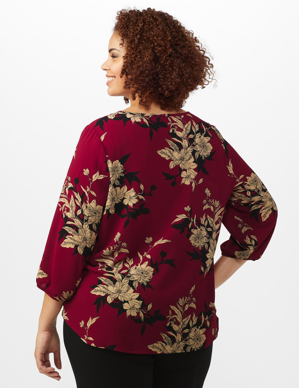 Roz & Ali Floral Crepe Texture Knot Blouse - Plus - Burgundy - Back