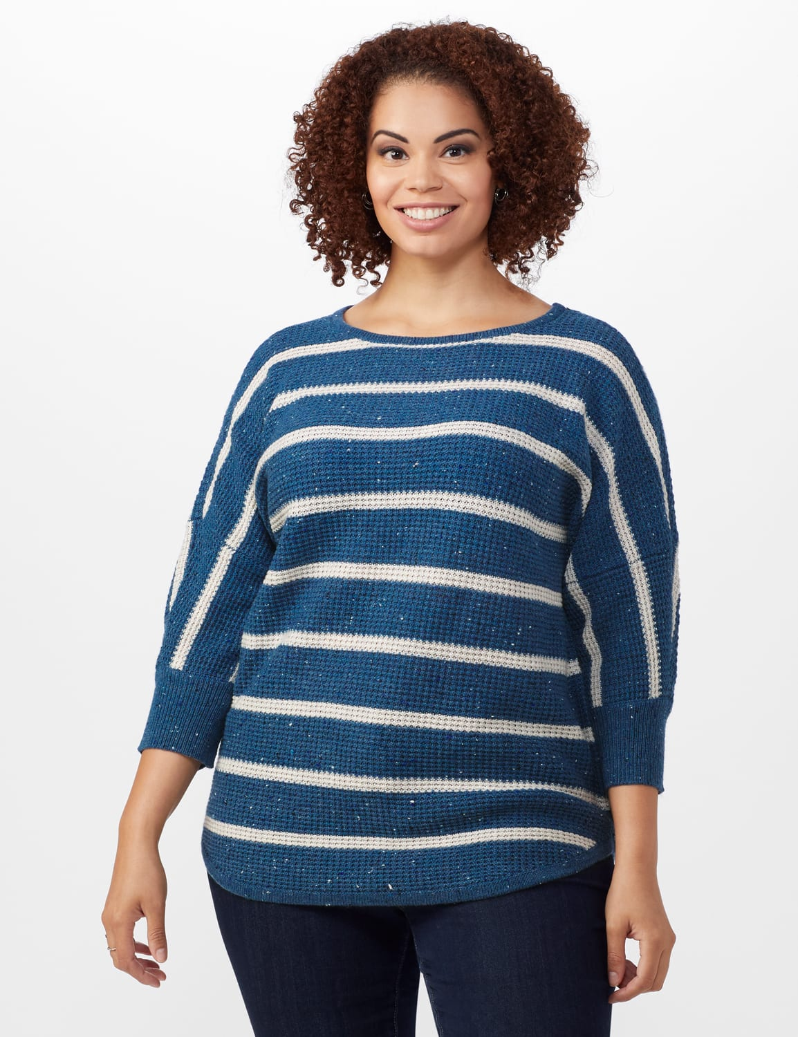 Westport Stripe Curved Hem Sweater - Plus - Vintage Denim/Silver - Front