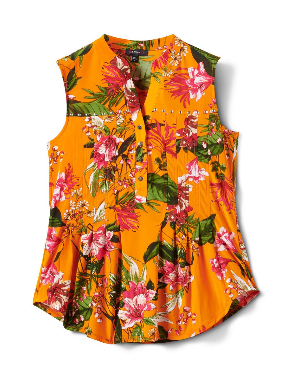 Sleeveless Bright Floral Pintuck Popover - Orange/Aqua - Front
