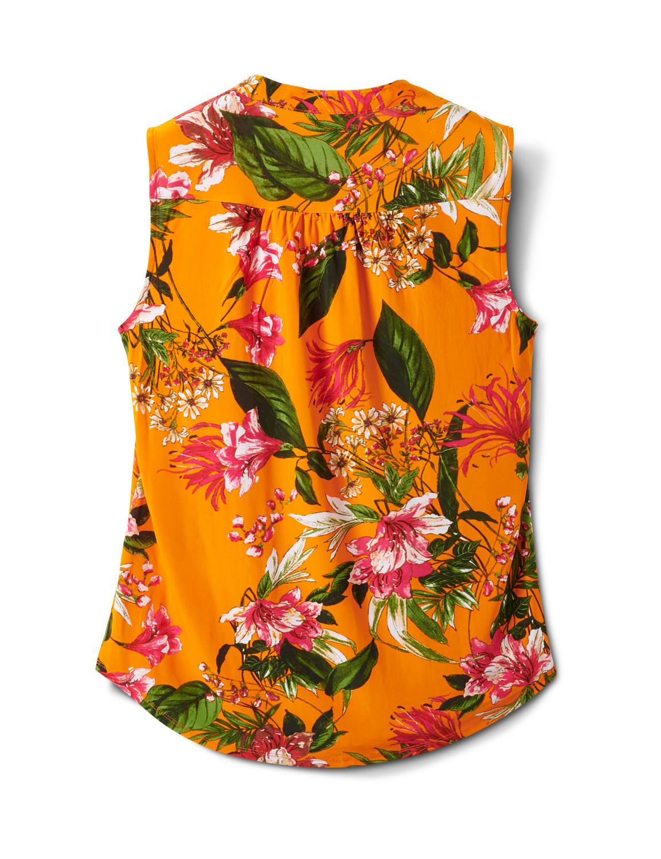 Sleeveless Bright Floral Pintuck Popover - Orange/Aqua - Back