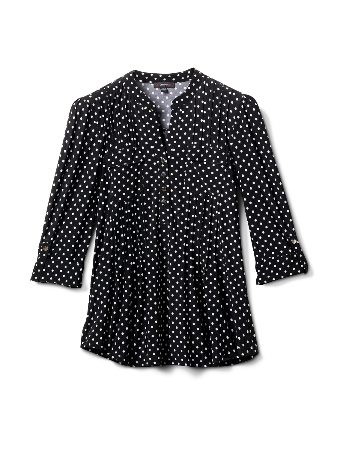 Dot Pintuck Popover - Misses - Black/White - Front