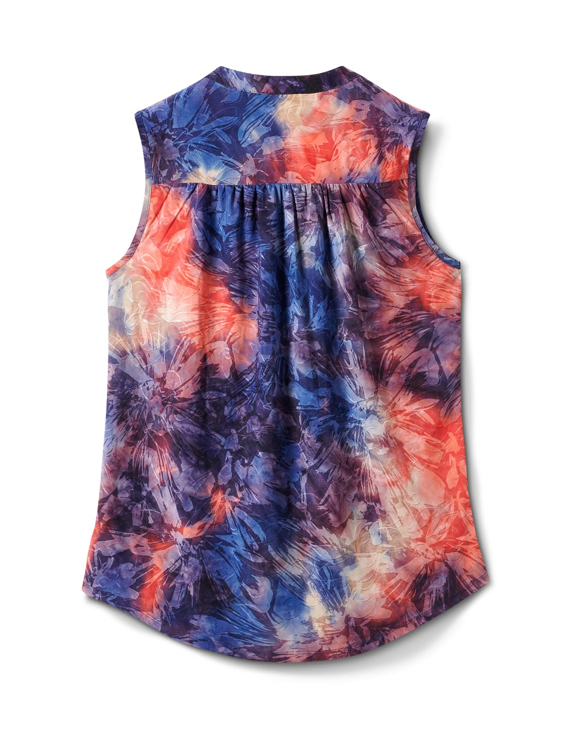 Tie Dye Jaquard Pintuck Popover - Navy/Orange - Back