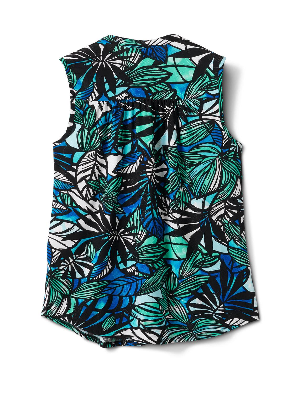 Palm Jaquard Pintuck Popover - Green/Blue - Back
