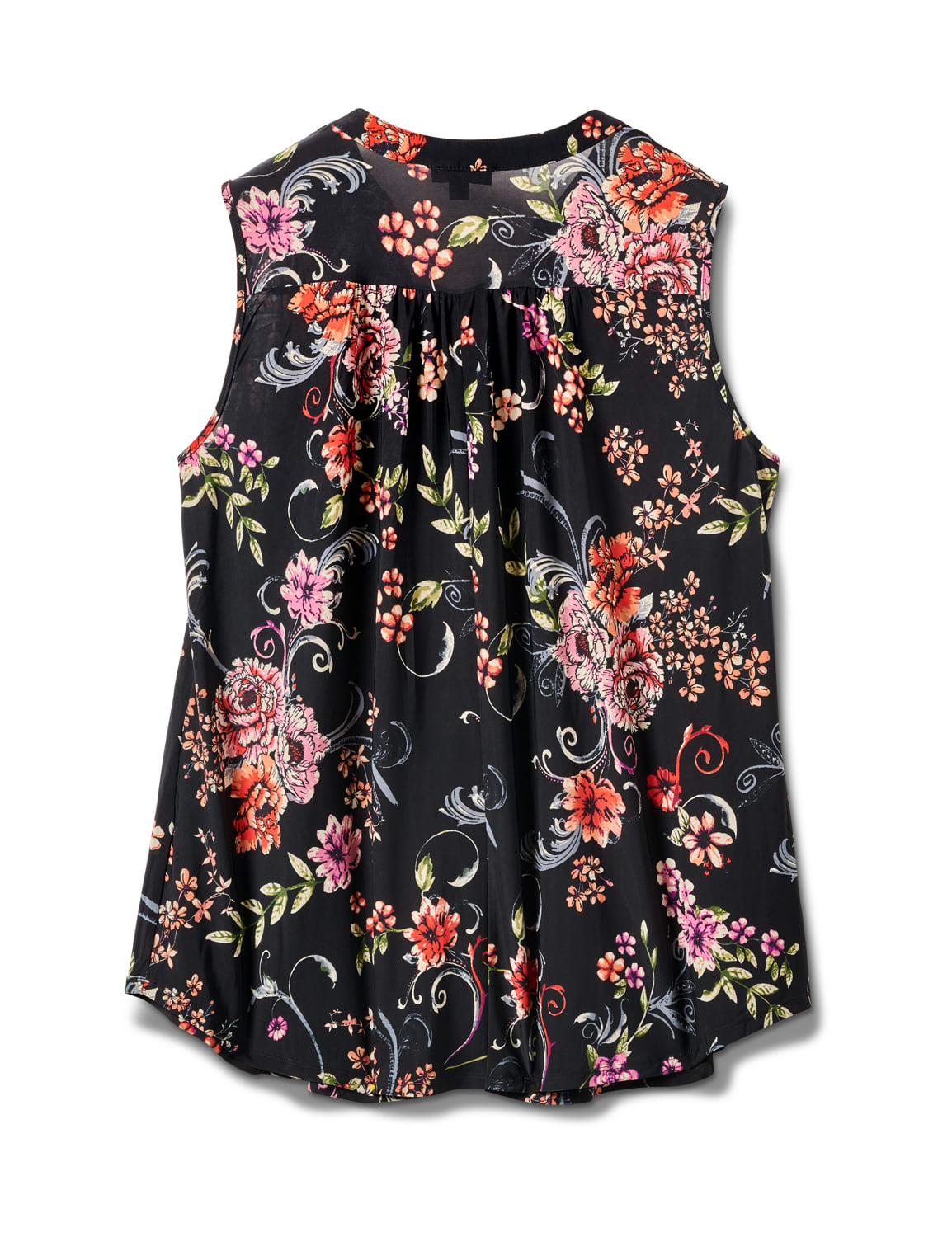 Sleeveless Floral Pintuck Popover - Black/Pink/Red - Back