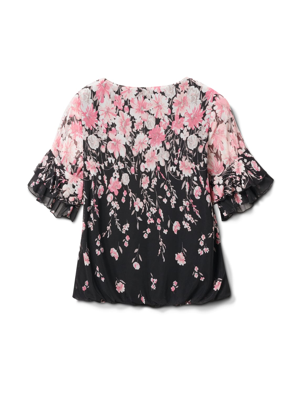 Placed Floral Bubble Hem Blouse - Black/Blush - Back