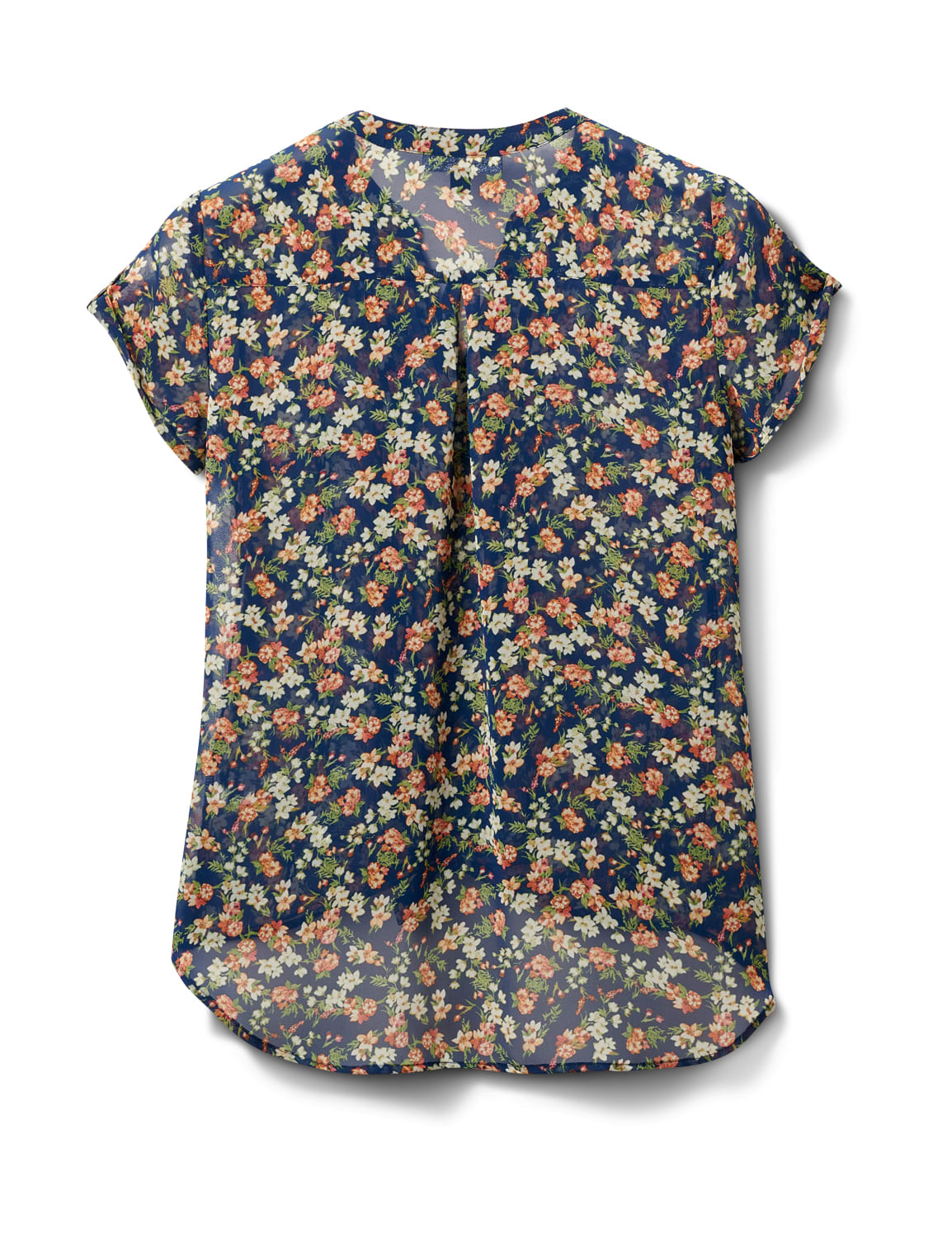 Floral Button Front Blouse - Navy/Coral/Green - Back