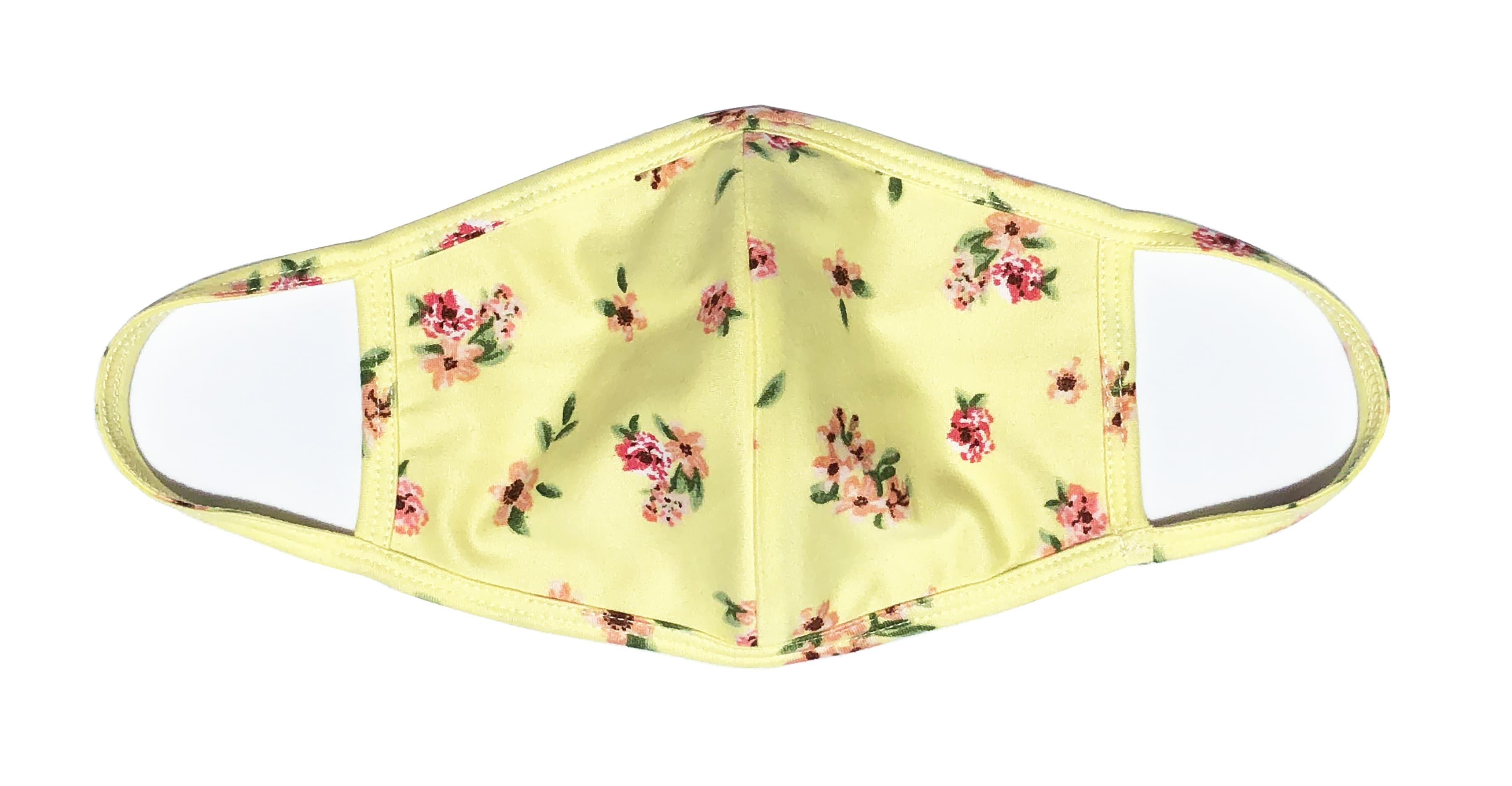 3 Pack Ditsy Floral Fashion Masks - Pink, Blue. Black/White - Back