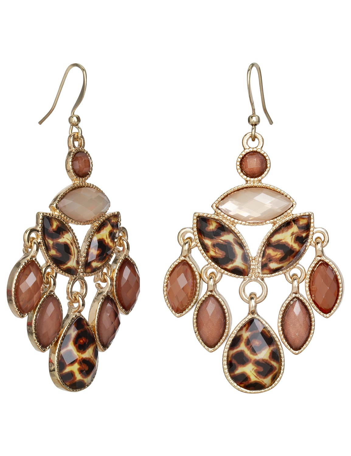 Leopard Chandelier Earrings - Brown - Back