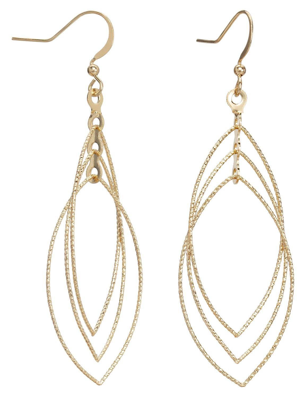 Layered Gold Leaf Earrings - Gold - Back