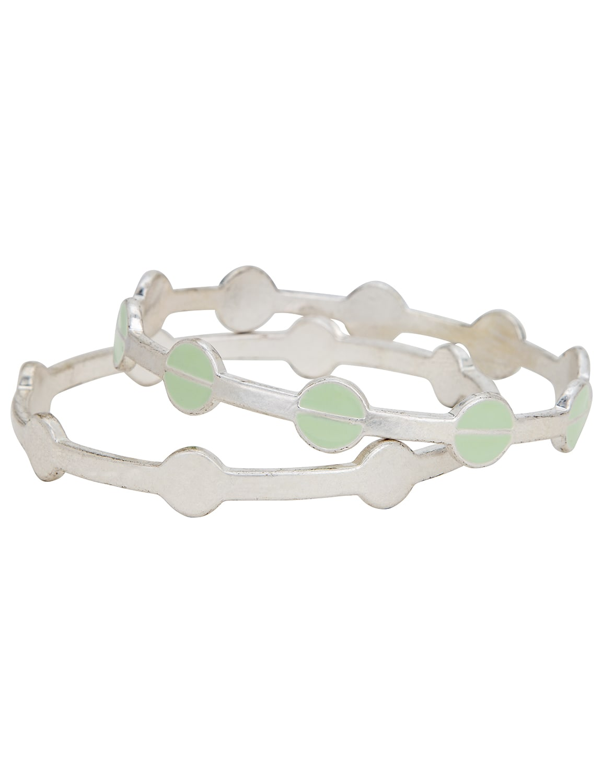 Silver Circle Bangle Bracelet Duo - Silver - Front
