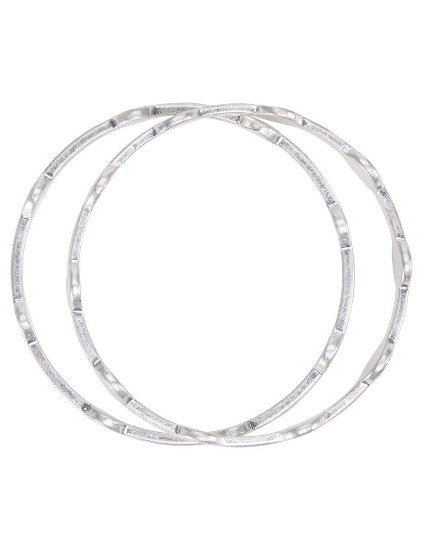 Silver Circle Bangle Bracelet Duo - Silver - Detail