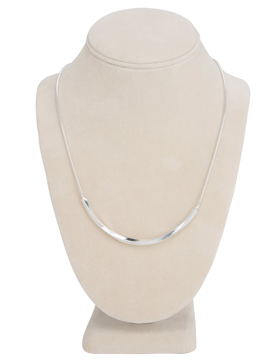 Simple Silver Bar Necklace - Silver - Back