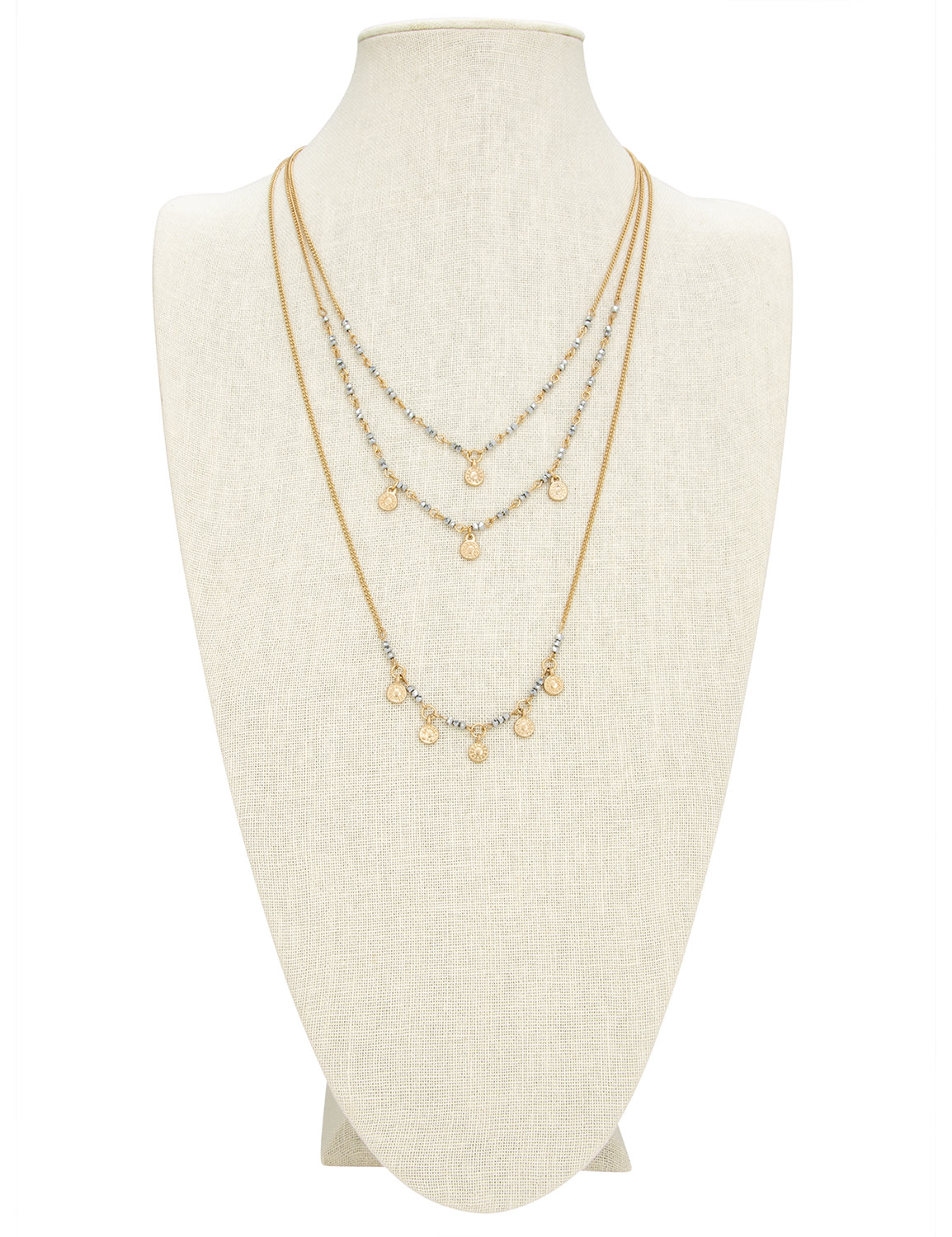 Gold Medallion Beaded Layered Necklace and Earring Set - Gold - Back