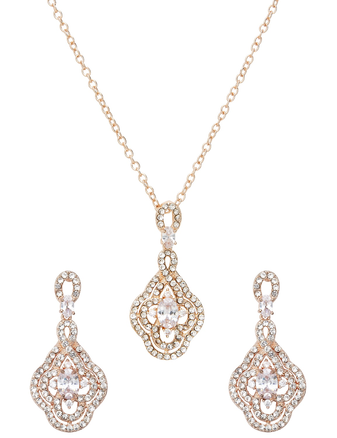 Fancy Rose Gold Evening Jewelry Set - Silver  - Front