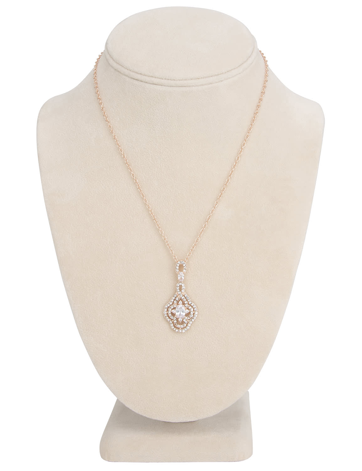 Fancy Rose Gold Evening Jewelry Set - Silver  - Back