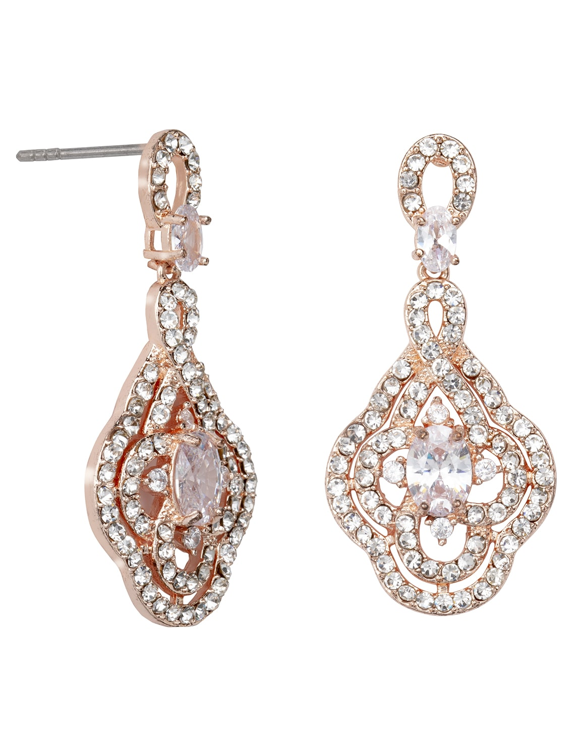 Fancy Rose Gold Evening Jewelry Set - Silver  - Detail
