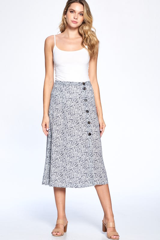 Button Front Ankle Length Skirt - Black - Front