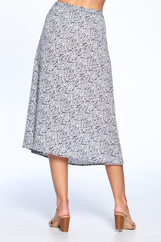 Button Front Ankle Length Skirt - Black - Back