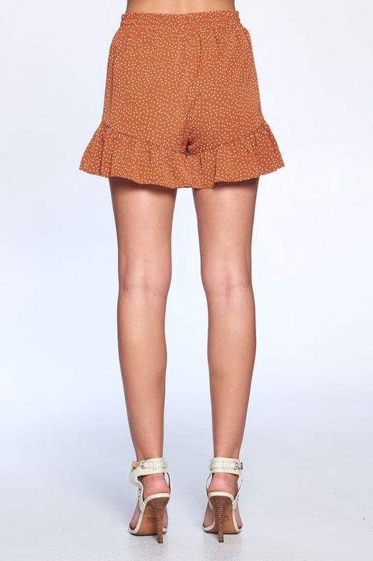 Dot Print Flutter Hem Shorts - Amber - Back