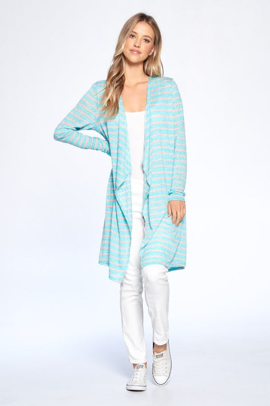Loose Fit Striped Cardigan - Mint Combo - Front