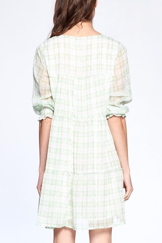 Light Plaid Night Dress - Green Plaid - Back