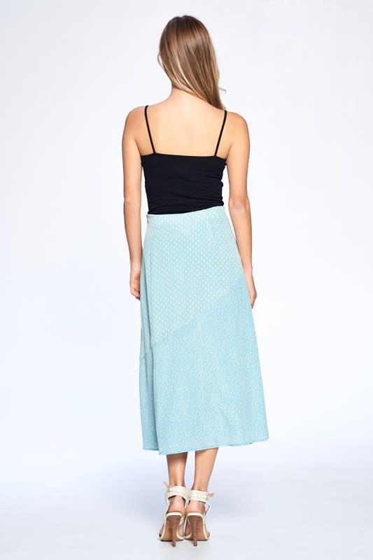 Dot Print Ankle Length Skirt - Dusty Mint - Back