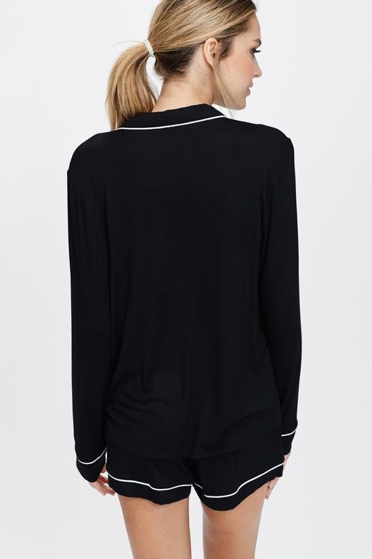Cozy Nightwear Jacket - Black - Back