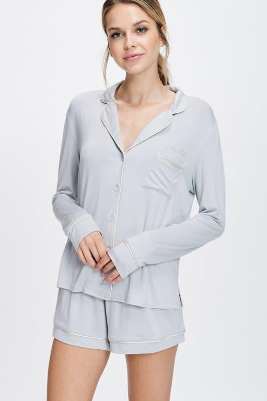 Cozy Nightwear Jacket - Silver - Front