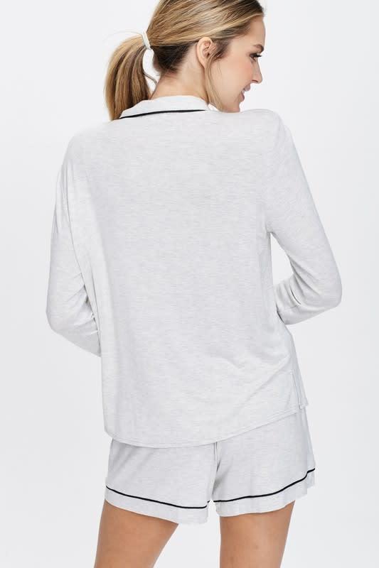 Cozy Nightwear Jacket - Light Heather Grey - Back