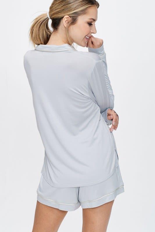 Cozy Nightwear Jacket - Silver - Back