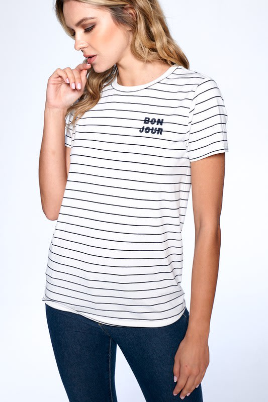Essential Stripe Tee - Navy / Ivory - Front