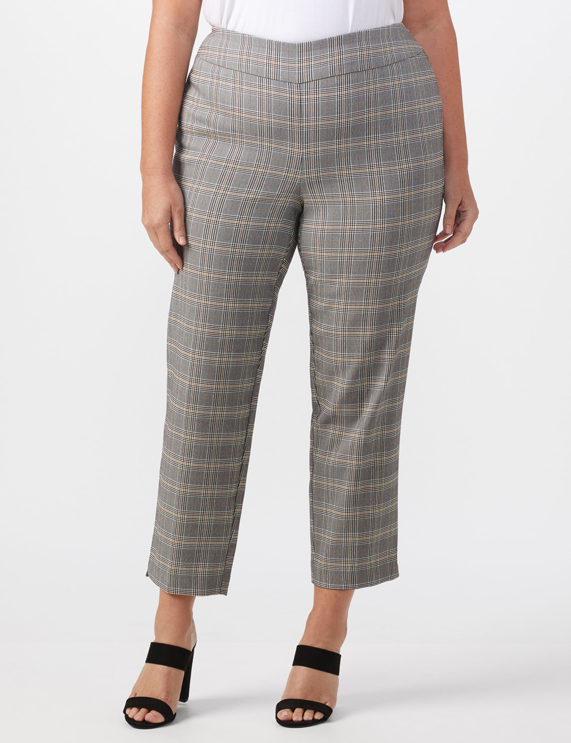 Roz & Ali Yarn Dye Plaid Pull On Waist Ankle Pant - Plus - Black/Grey - Front